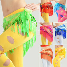 Belly Dance Costume Hip Scarf Tribal Triangle Tassel Belt & Gold Coins New