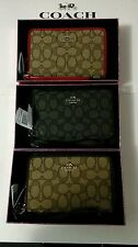 NWT Coach 53704 Signature Jacquard Zip Wallet / Organizer / iPhone 6 ~GIFT BOX
