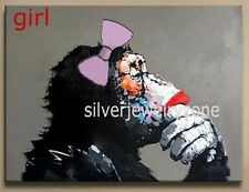 HandPainted Modern Abstract girl Monkey Oil painting On Canvas (no frame)