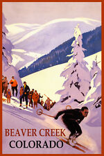 SKI BEAVER CREEK MOUNTAIN COLORADO SKIING WINTER SPORT USA VINTAGE POSTER REPRO