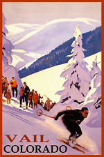 SKI VAIL COLORADO MOUNTAINS DOWNHILL SKIING WINTER SPORT VINTAGE POSTER REPRO