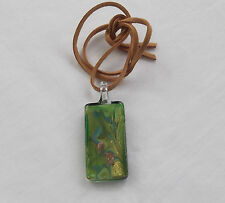 Handmade Unusual Green Gold Lampwork Glass Tablet Pendant Faux Suede Necklace