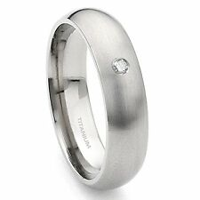 Titanium 6mm Solitaire Diamond Satin Finish Dome Wedding Band Ring
