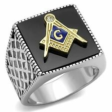 Men's Black & Silver Stainless Steel Masonic Lodge Freemason Ring Band Size 8-13