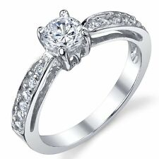 Sterling Silver 925 Wedding Engagement Ring with .50 Carat Round Cubic Zirconia