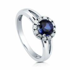 Sterling Silver Round Simulated Blue Sapphire Cubic Zirconia CZ Halo Split Shan