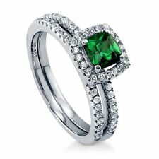 Sterling Silver 0.75 ct.tw Cushion Green Cubic Zirconia CZ Halo Engagement Wedd