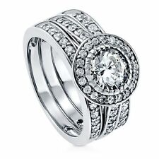 Sterling Silver Round Cubic Zirconia CZ Halo Engagement Wedding Stackable R 254