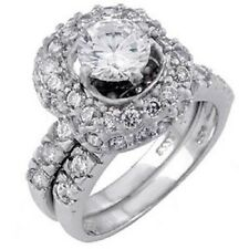 Sterling Silver Round Cz Ring Set with 6MM Round Cz in the Center, Ring Wid 147
