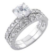 Sterling Silver Round Cz Engagement Ring Set with a 6MM Prong Set Round Cz  139