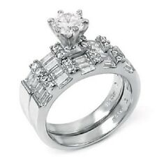 Sterling Silver Baguette and Round Cz Ring Set with a 6MM Prong Set Round C 137