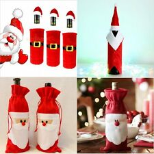 Christmas Santa Claus Wine Bottle Cover Bag Topper Hat Xmas Table Decorations