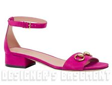 GUCCI fuchsia Suede LILIANE gold Horsebit Low heel sandals shoes NIB Authentic!
