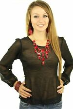 121AVENUE Classy V Back Decor Chiffon Top S Small Women Black Casual