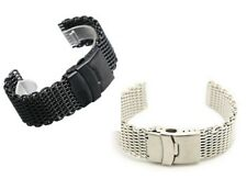 4mm thick Stainless Steel Shark Mesh Divers Sport Watch Band with locking clasp