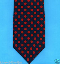 FREE P&P* 100% Silk - Navy Blue with Red Polka Dots Spots Men's Tie   #3522