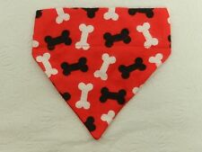 DOG/CAT/FERRET Over Collar 2 n 1 Bandana~Red/Black/White Puppy Toy Bone Print