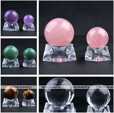 Natural Healing Gemstone Crystal Ball Bead Stand Box Ornament Decoration Jewelry