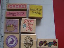 WM RUBBER STAMPS happy EASTER SUNDAY GREAT DYE JOB EGGS BASKET SCALLOP RABBITS