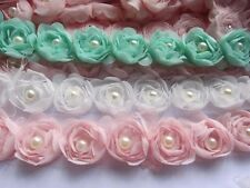 "5y Chiffon Rose Pearl Trim 1 1/8"" Party Scrabooking DIY Craft-U Pick CH011"