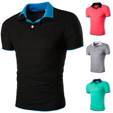 Fashion Polo V-Neck Men's T-Shirt Short Sleeve Candy Color Slim Fit Tops Shirts