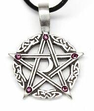 PEWTER Wiccan PENTAGRAM Pagan Moon AMETHYST Crystal FEBRUARY Birthstone Pendant