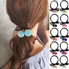 Girl Colorful Double Round Ball Ponytail Rubber Band Holder Ribbon Bow Hair Rope