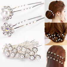 New 20Pcs Womens Wedding Bridal Pearl Flower Crystal Hairpin Hair Clips Charm