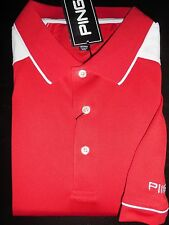 NEW MEN'S PING DEUCE PERFORMANCE Golf Polo Shirt, RED/WHITE, SIZE LARGE