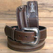 "32-46"" ROPER SILVER BUCKLE LEATHER MENS BELTS 1-1/2"" WIDE BROWN SILVER BUCKLE"