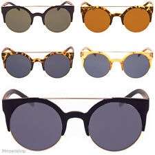 Womens Round Cat Eye Cats Sunglasses Clubmaster Gold Metal Top Bar