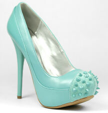 Sea Green Studded Spike High Stiletto Heel Platform Pump Qupid Neutral-284