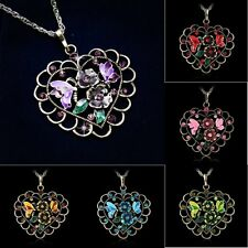 Eternal Love Heart Teardrop Rhinestone Elements Crystal Pendant Sweater Necklace