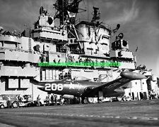 Grumman F9F-3 Panther Black n White Photo USN Military USS Valley Forge CV-45