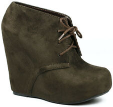 Brown Faux Suede Lace Up High Heel Platform Wedge Ankle Boot Bootie Soda Pager-s
