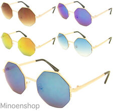 Womens Octagon Sunglasses Metal Frame Retro Mirror Revo Lens Gold