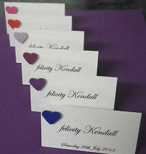 24  Ivory wedding table personalised  place cards   with heart attached