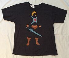 Mens L HE-MAN SILHOUETTE Masters of the Universe T-SHIRT Dark HEATHER GRAY Large
