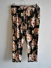 Ladies Vero Moda ASOS Black Pink Floral Rose Tapered Light Trousers Summer XL
