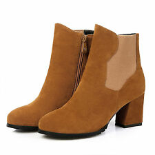 Hot Women's Faux Suede Round Toes Shoes Square High Heel Zip Ankle Boots UKB394
