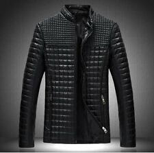New Fashion Mens Leather Slim Fit Stand Collar Grid Outwear Jacket Casual Coat L