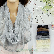 Stylish Women's Sequins Embroidery Lace Floral Mesh Stitching Ruffle Shawl Scarf