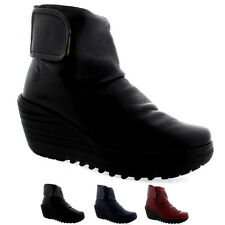 Womens Fly London Yegi Leather Velcro Fashion Wedge Heel Ankle Boots US 5-12