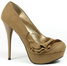 Taupe Brown Velvet  Ruffle High Stiletto Heel Round Toe Platform Pump Qupid