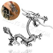 Earring Curved Dragon with Tail Cuff 16g Surgical Steel Pair Ring FREE SHIP