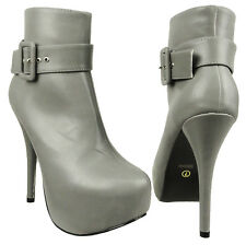Womens Platform Stiletto Ankle Booties w/ Buckle Accent Gray Size 5.5-10