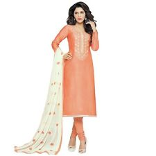 Designer Silk Embroidered Salwar Kameez Suit Dress Ready to Wear-Neckline-1002