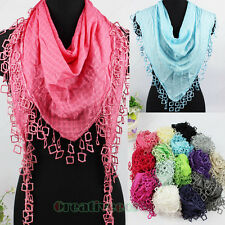 Fashion Sexy Lace Crochet Squares Triangle Mantilla Scarf Shawl Wrap Lace Tassel