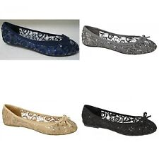 Spot On Womens/Ladies Ballerina Style Sequin Shoes