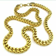 Mens Gold Bracelet Necklace Set Thick Heavy Stainless Steel Square Chain